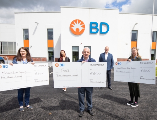 BD Research Centre Ireland donates €15,000 to local charities; €5,000 each to Mid West Simon Community, Pieta House & Adapt Domestic Abuse Services.