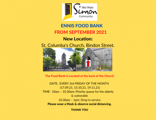 Ennis Food Bank is back from the 17th September in a New Location at St. Columba's Church, Bindon St.